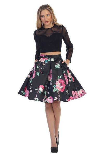 Long sleeve lace crop top two piece homecoming dress  LT #6062 - Simply Fab Dress