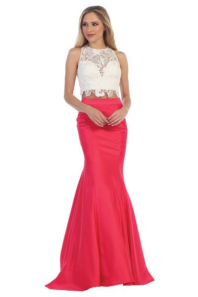 Sexy lace crop top mermaid two piece prom dress #LT7172 - Simply Fab Dress