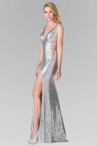 All over sequins formal dress with cut back and high slit gl2300 - Simply Fab Dress