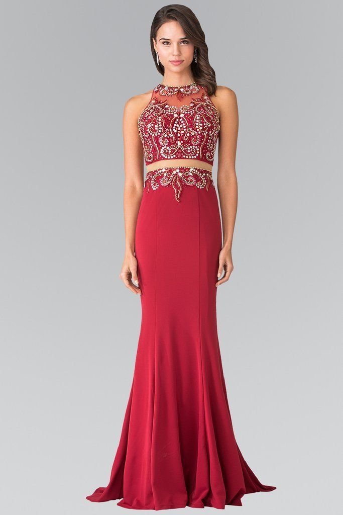 Beaded Illusion Bodice cut out back formal & evening gown 103-GL1338 - Simply Fab Dress