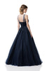 Beaded sheer v cut neckline navy quinceanera dress BC#md16541 - Simply Fab Dress