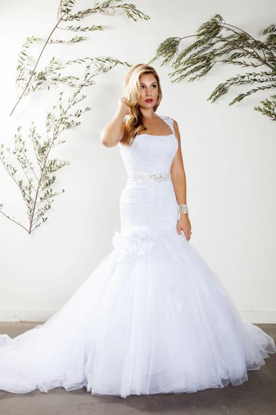 Lace trumpet wedding dress with tulle skirt -mt185 - CLOSEOUT ...