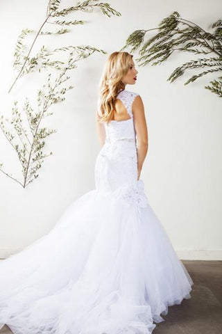 Lace trumpet wedding dress with tulle skirt -mt185 - Simply Fab Dress