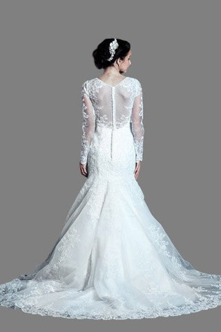 Long sleeve Lace Mermaid wedding dress MT205 Affordable wedding dress - Simply Fab Dress
