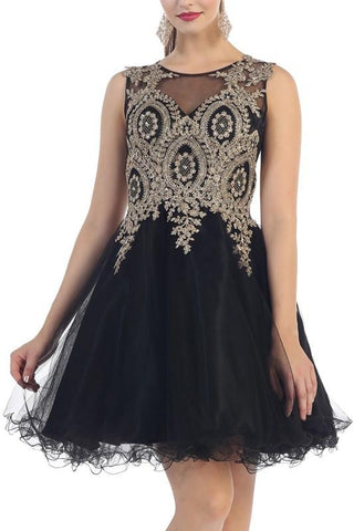 Trendy beaded gold embroidered short prom & homecoming dress Mq1261 - Simply Fab Dress