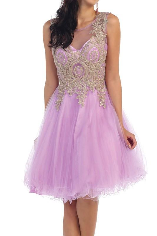 Trendy beaded gold embroidered short prom & homecoming dress ...