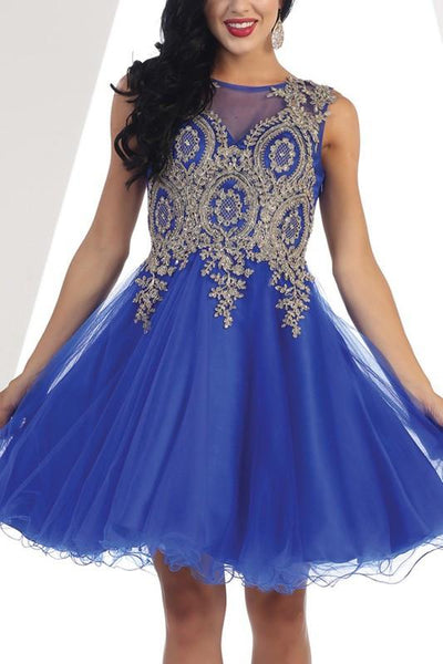 Trendy beaded gold embroidered short prom & homecoming dress - Simply Fab Dress