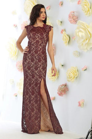 Long lace formal evening gown   May queen mq1453 - Simply Fab Dress