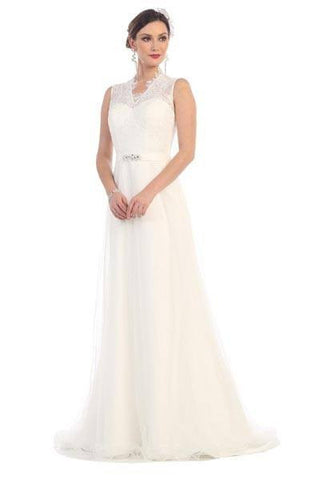 sleeveless lace bodice wedding dress 100-rq7380 Wedding Dress Affordable wedding dress - Simply Fab Dress