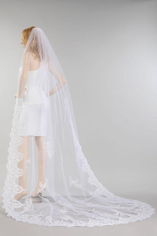 Scallop lace edge cathedral length wedding veil #VM014 - Simply Fab Dress
