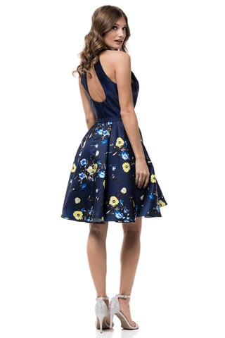 Short Navy floral formal gown damas dress MZ2908-Simply Fab Dress