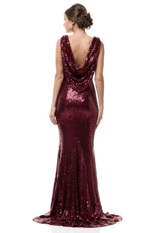 High neck sequin prom dress Gls 2677