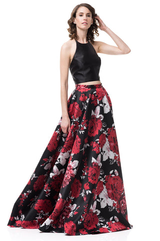 2 piece floral prom dress #MZ3476-Simply Fab Dress