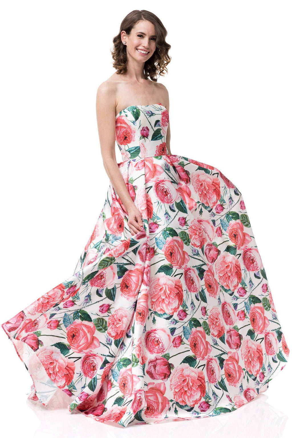 Pink floral prom dress # MZ3477-Simply Fab Dress
