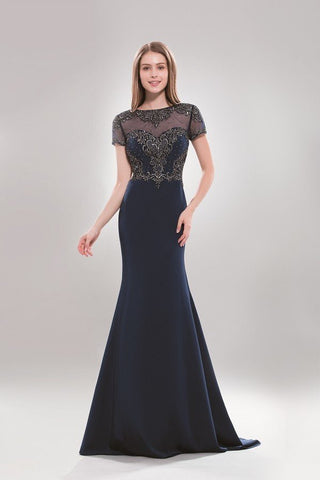 Elegant cap sleeve Long evening dress  BB- AB SP6734 - Simply Fab Dress