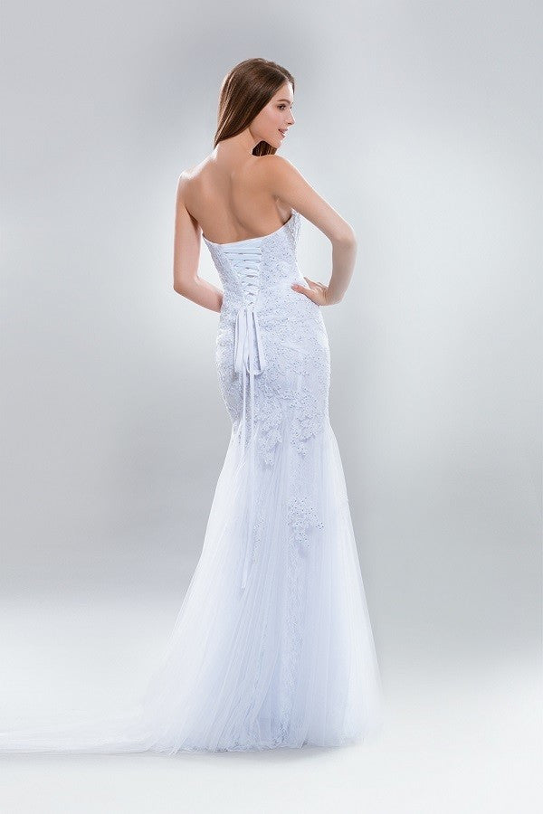 Strapless lace mermaid wedding dress w/corset back Ab7633 – Simply ...