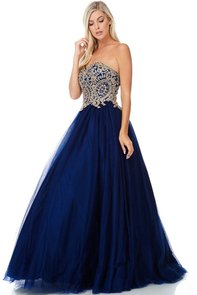 Lace gold embroidered bodice navy  quinceanera dress Bc#NQ6543 - Simply Fab Dress