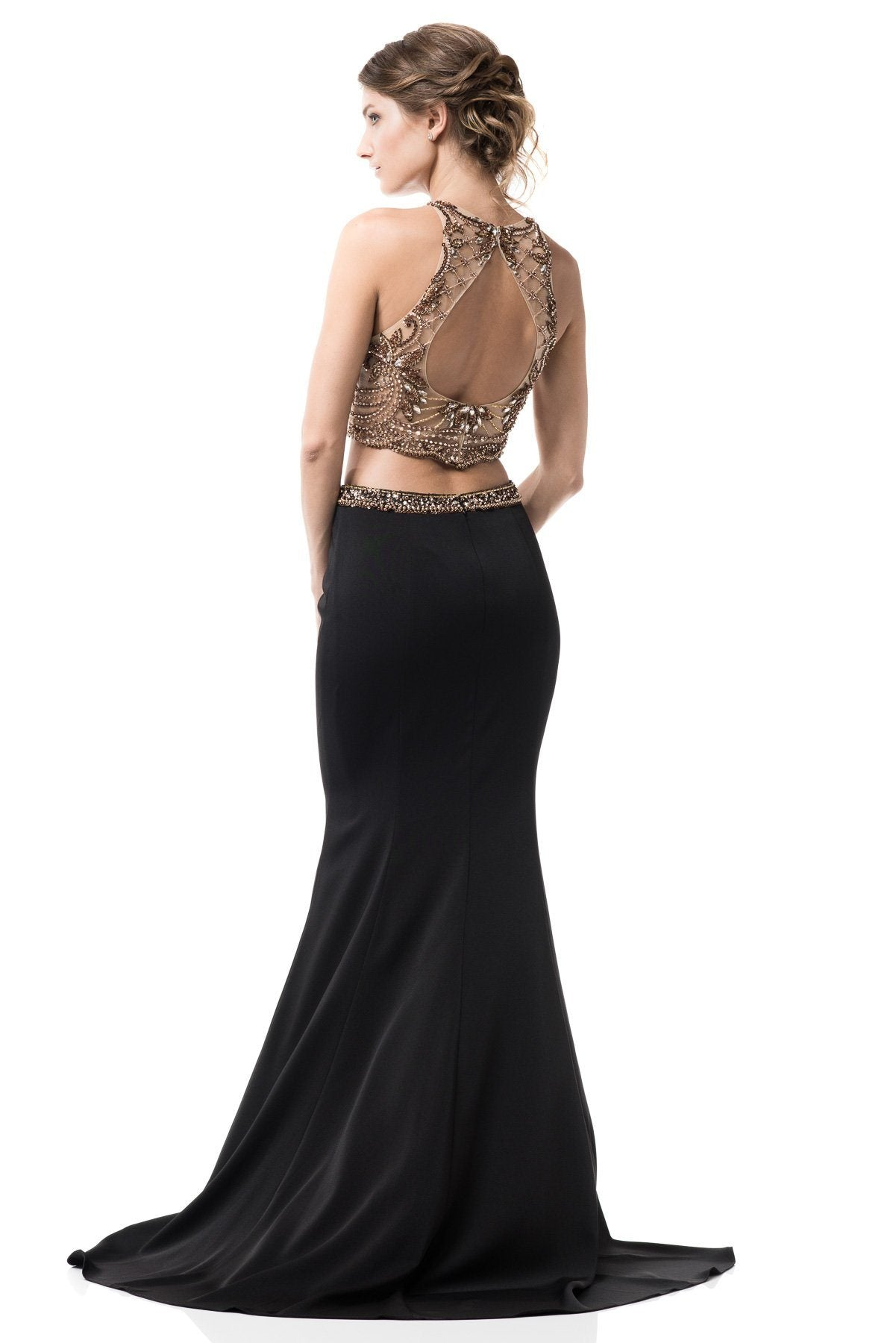 Black and gold 2 piece long prom dress BC-PS2210-Simply Fab Dress