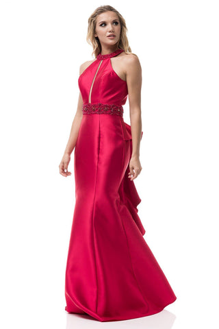 Halter neckline satin mermaid bridesmaid dress BC S#PS2226 - Simply Fab Dress