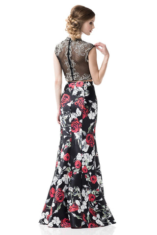 Floral 2 piece long floral prom dress-Simply Fab Dress