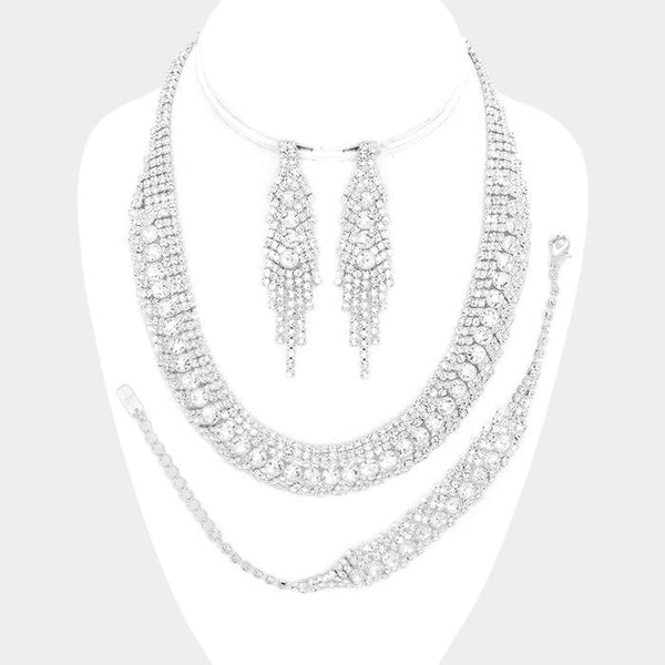 Rhinestone wedding 3pc necklace & bracelet set W#RN17238 - Simply Fab Dress