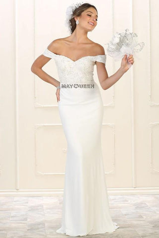 Casual Wedding Gown Off The Shoulder Dress RQ7525