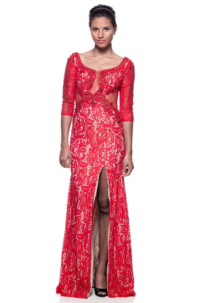 Long three quarter sleeve red lace evening gown  BC#RR3384 - Simply Fab Dress