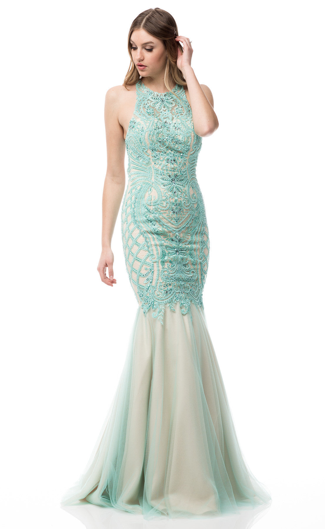 Sexy prom dresses- Glamorous fully beaded tulle merma cheap prom ...