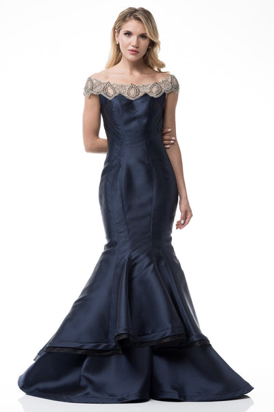 Navy mermaid prom & pageant dress BC RR8138 - Simply Fab Dress