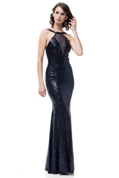 Navy sequin formal dress SK17775-Simply Fab Dress