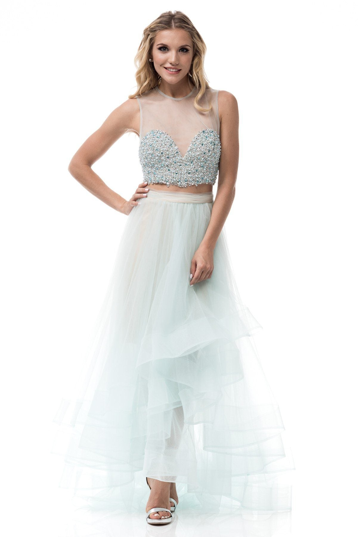 Sparkly Two Piece High Low Prom Dress Bc Sr160703 Simply Fab Dress
