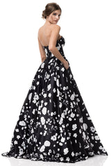 Black and white floral formal dress #SR17091005-Simply Fab Dress