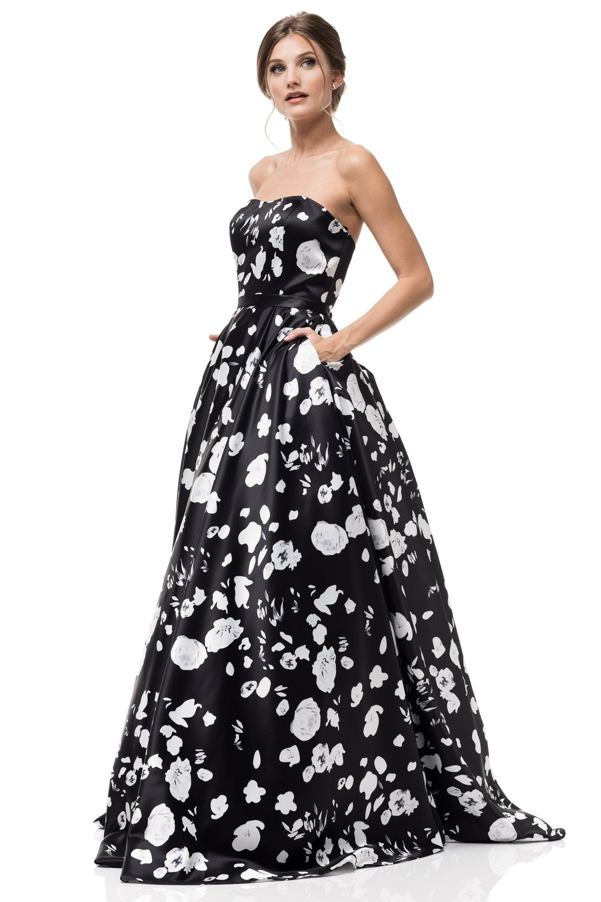 black and white floral formal dress sr17091005 – simply