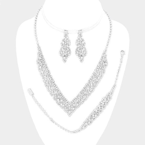 Rhinestone wedding 3pc necklace & bracelet set W#340392 - Simply Fab Dress