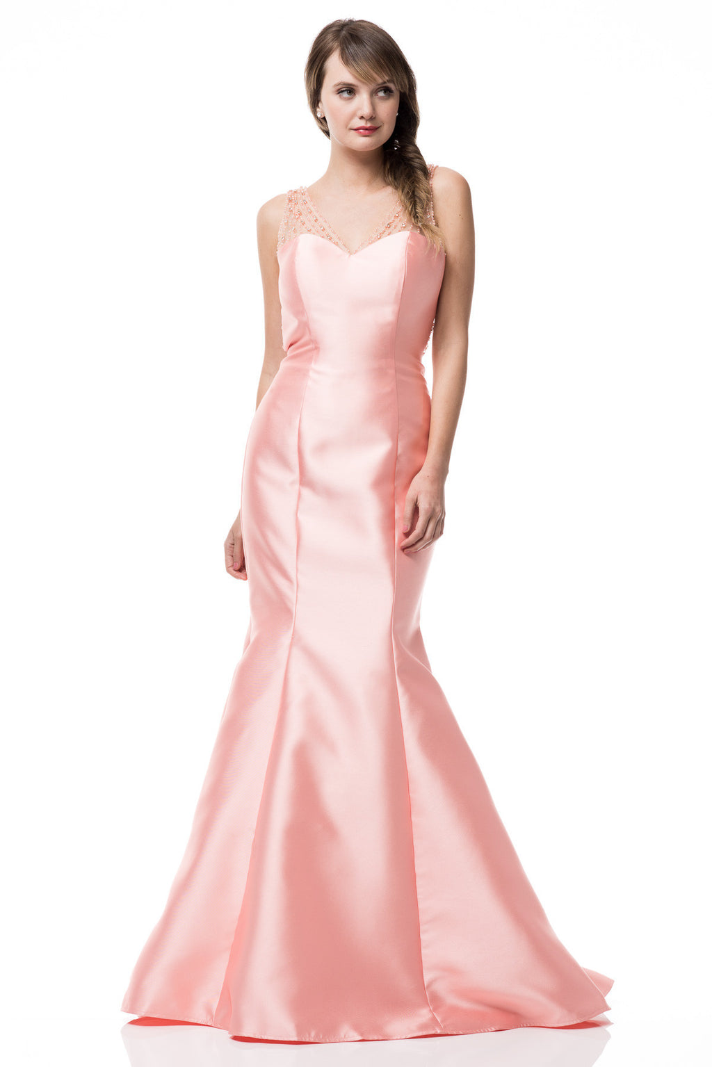 Sexy V neck satin mermaid bridesmaid dress bc#TR2301 - Simply Fab Dress