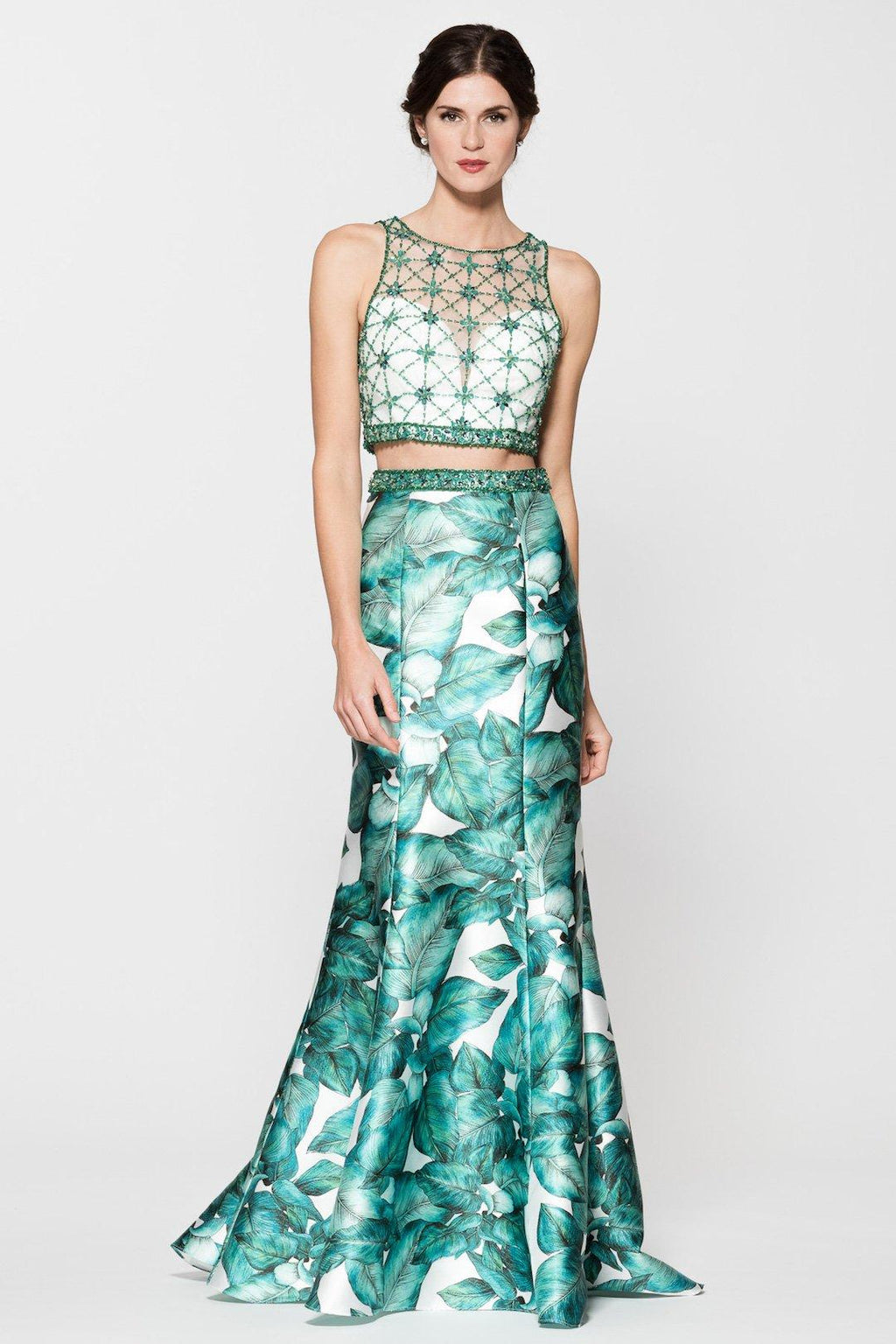 Floral 2 piece long prom dress BC-tr26395-Simply Fab Dress