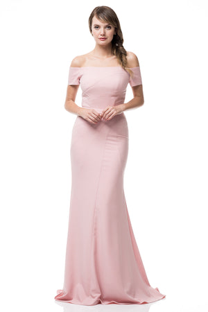Fitted off the shoulder long bridesmaid dress #TR36098 - Simply Fab Dress