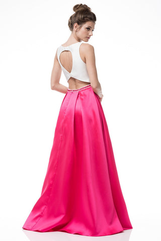 Pink & white ball gown prom dress  TR36183