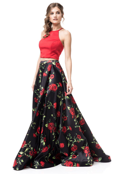 Two piece floral homecoming dress #TR77259-Simply Fab Dress