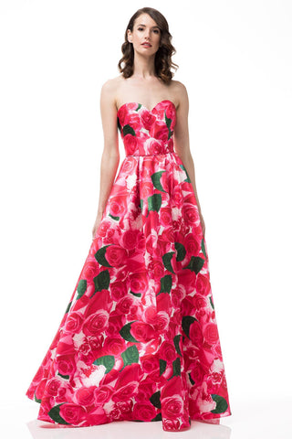 Red Two piece Floral Prom Dress  BC#an06
