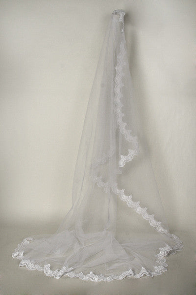 Lace chapel train wedding Veil  TS037-108 - Simply Fab Dress