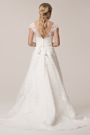 Sheer illusion neckline lace a-line Ball gown wedding dress BC# TTW033 Closeout - Simply Fab Dress