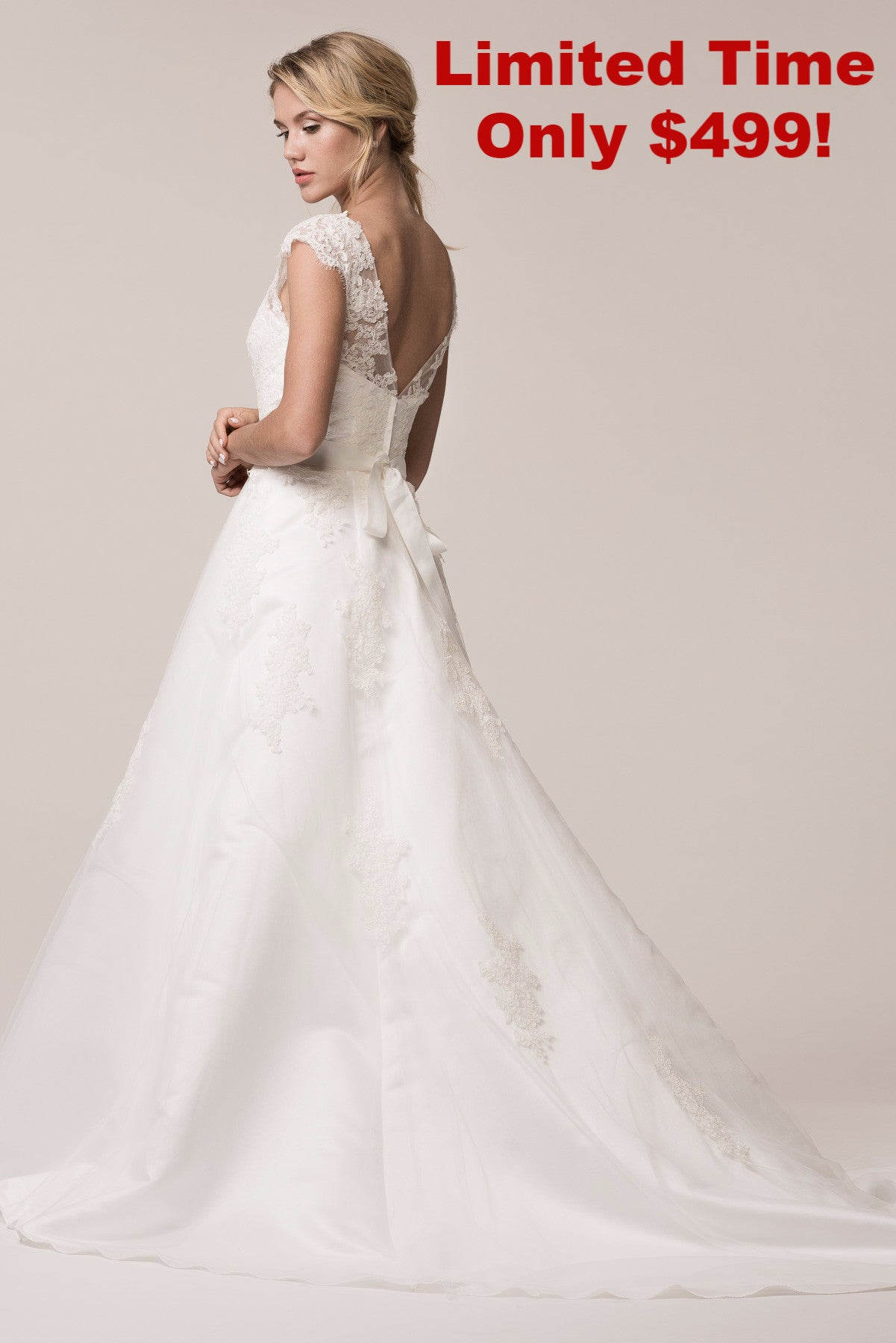 Sheer illusion neckline lace a-line Ball gown wedding dress BC ...