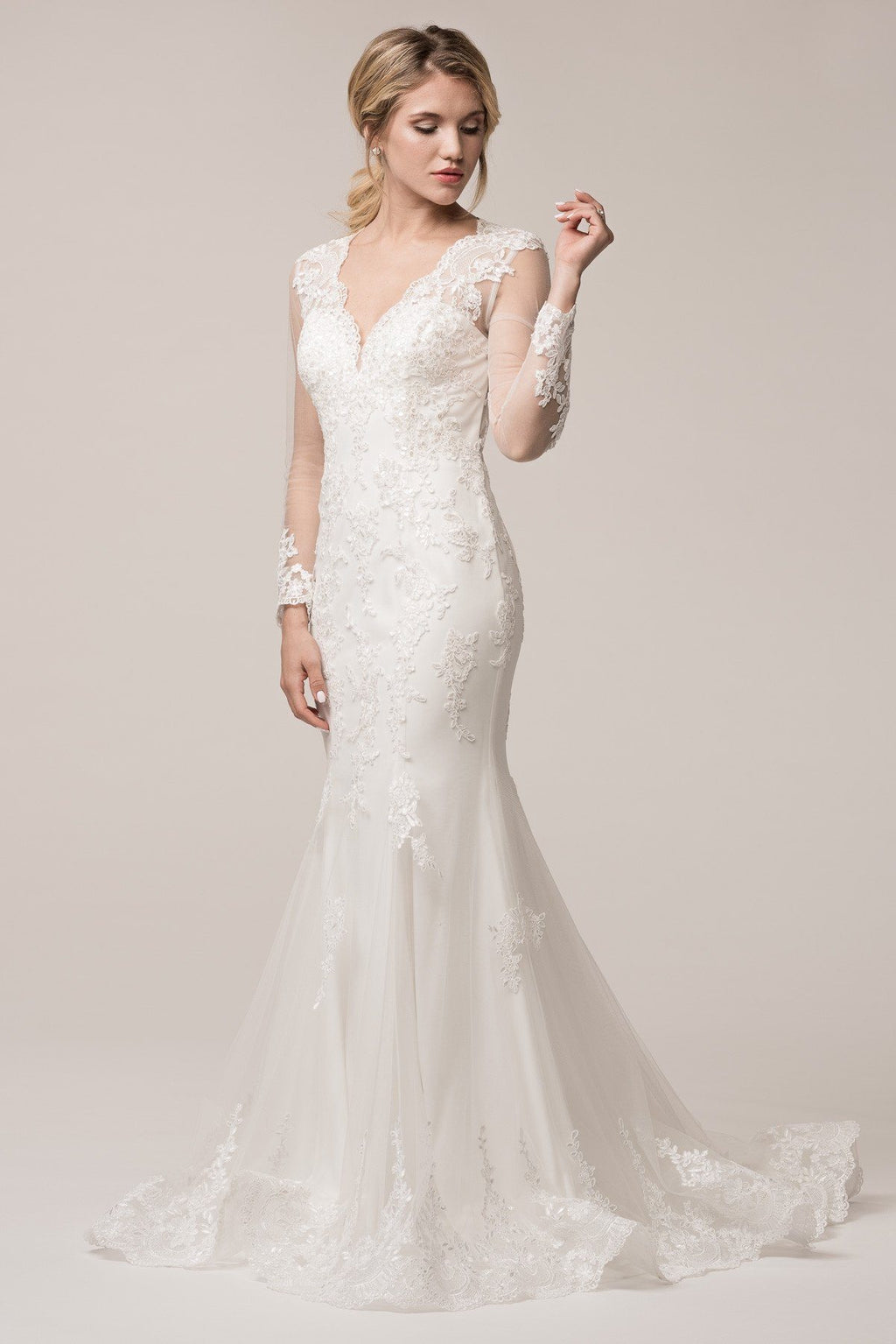 Long sleeve lace mermaid wedding dress BC#TTW16499 - Simply Fab Dress