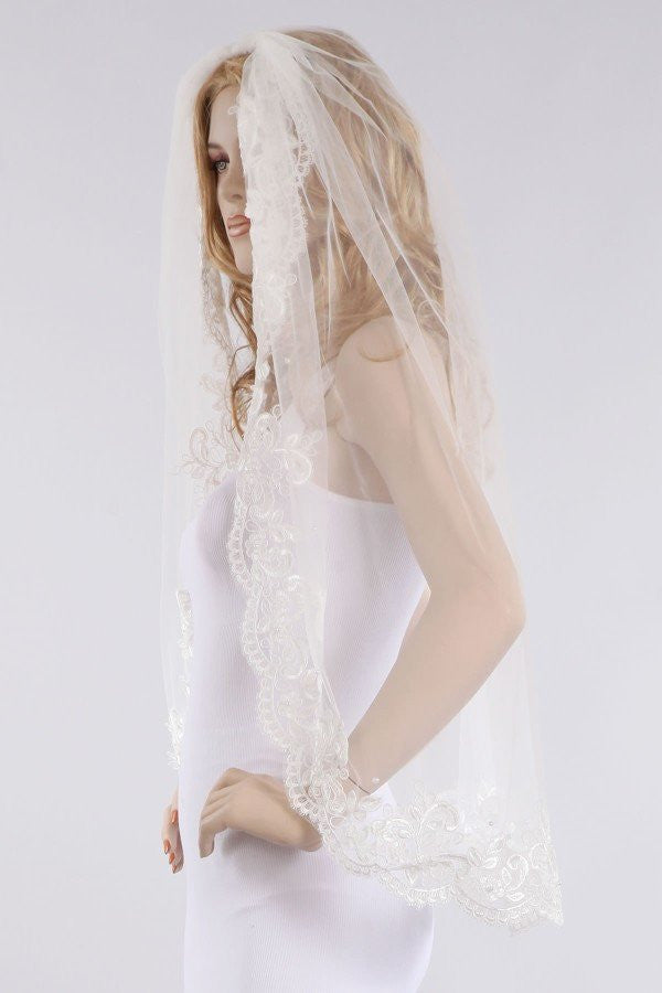 Lace wedding Veil  V1060-36 - Simply Fab Dress