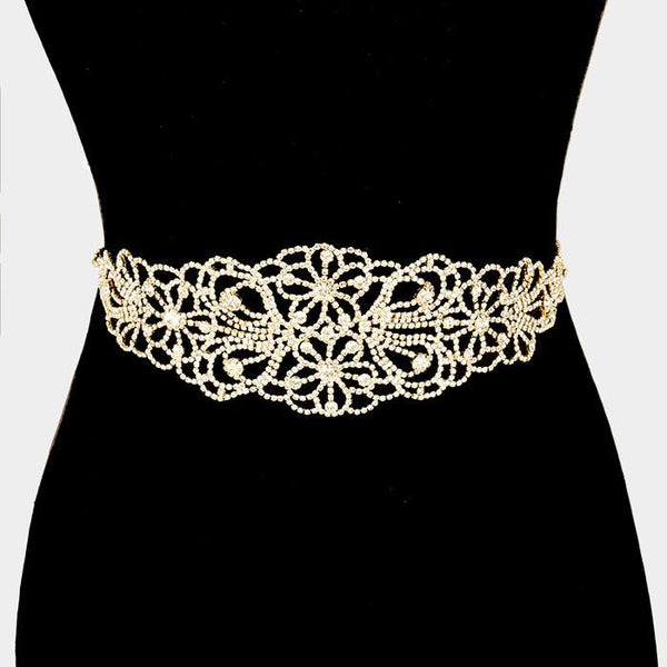 Floral design beaded rhinestone wedding dress belt #wb1558-341503 - Simply Fab Dress