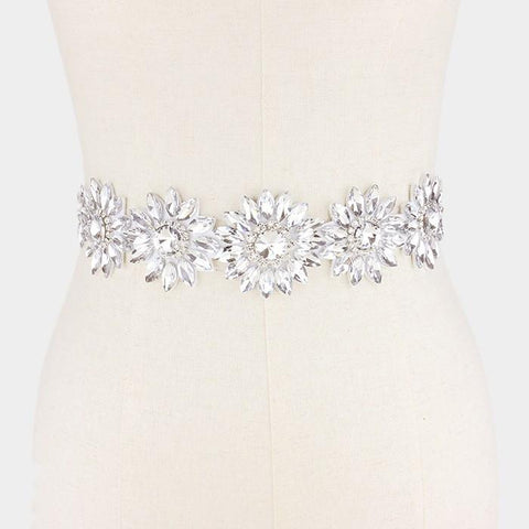 Flower and leaf rhinestone wedding belt #wb6571-33468 - Simply Fab Dress