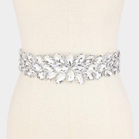 Flower and leaf rhinestone wedding belt #wb6571-33468