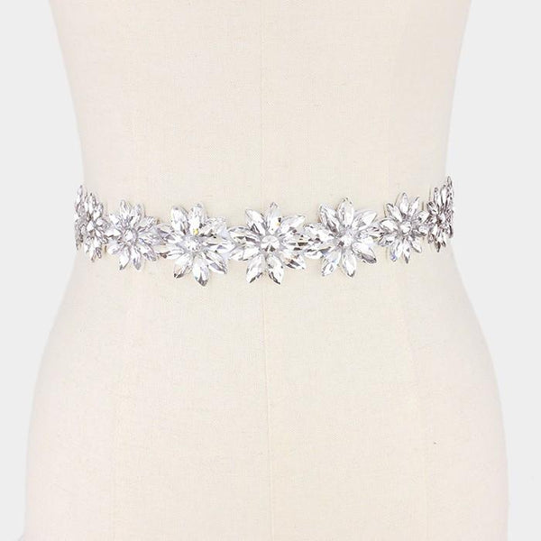 Flower and leaf glass crystal wedding belt Wb6573-334690 - Simply Fab Dress