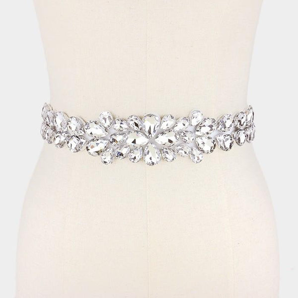 Large tear drop rhinestone wedding belt #wb6574 - Simply Fab Dress